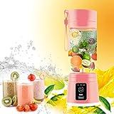 Portable Juicer Multifunction 380ML Mini USB Electric Fruit Juicer CUP Rechargeable Smoothie Maker Blender Drink Bottle (PINK)