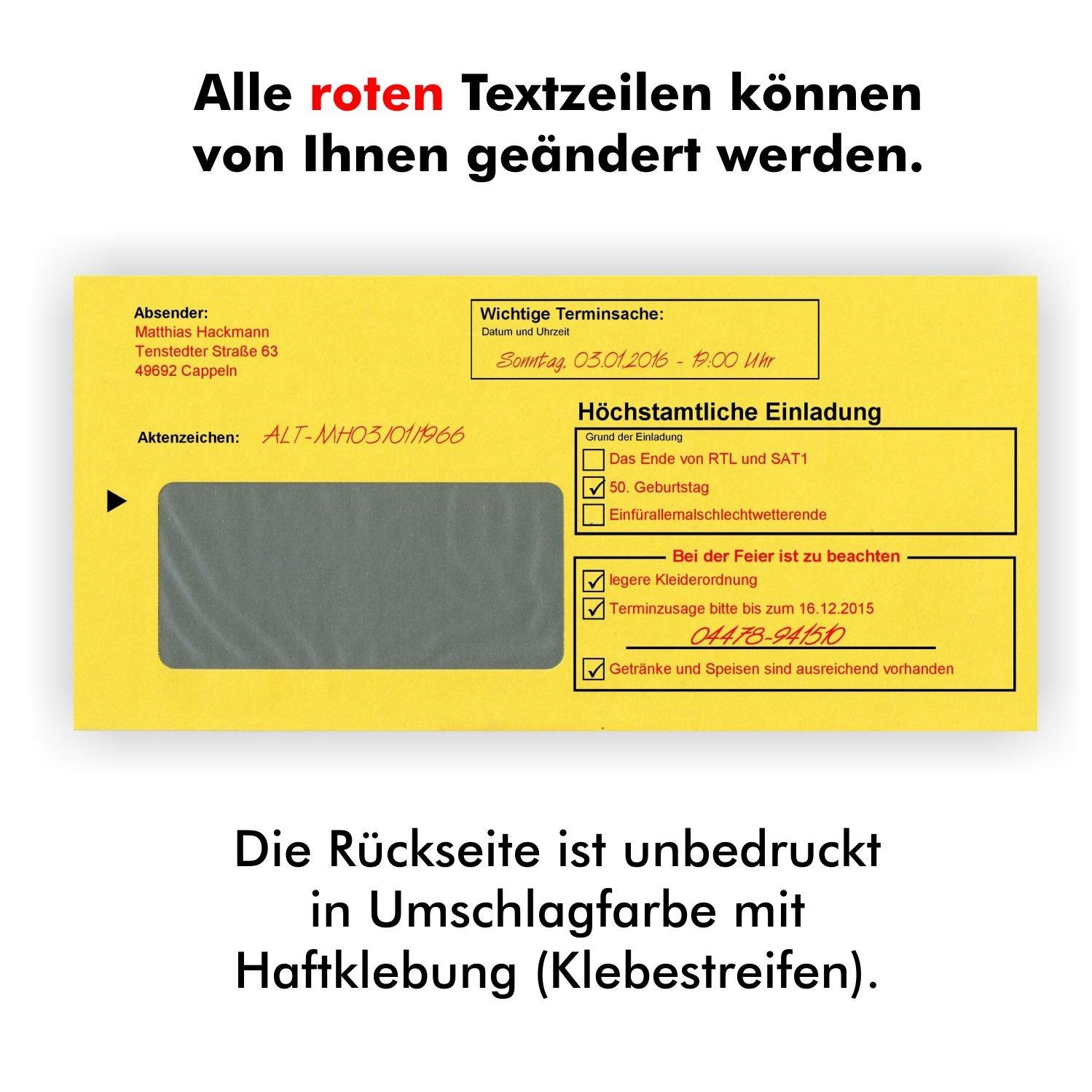 10 Geburtstagseinladungen Zustellung Einladungen Für Erwachsene Geburtstag  Brief Und Umschlag Witzig Lustig Originell Einladungskarten: Amazon.de: ...