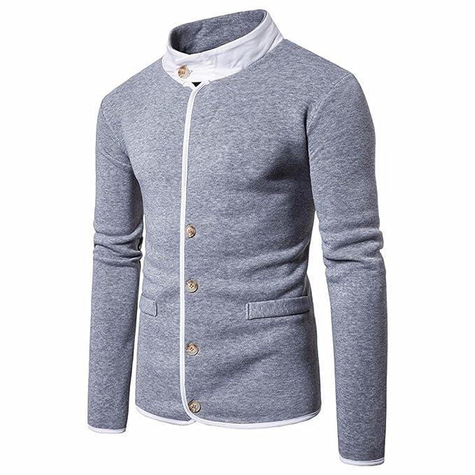 Chaqueta Hombres ♚Btruely Herren Sudadera con Capucha de Manga Larga para Hombre Stand Collar Chaqueta de Abrigo Jacket Camiseta Larga Redondo Cuello: ...