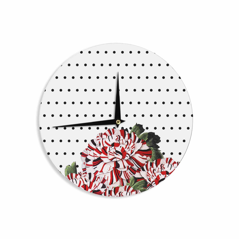 Kess InHouse Tobe Fonseca Spring Pattern Floral Mixed Black Red Illustration 12 Wall Clock