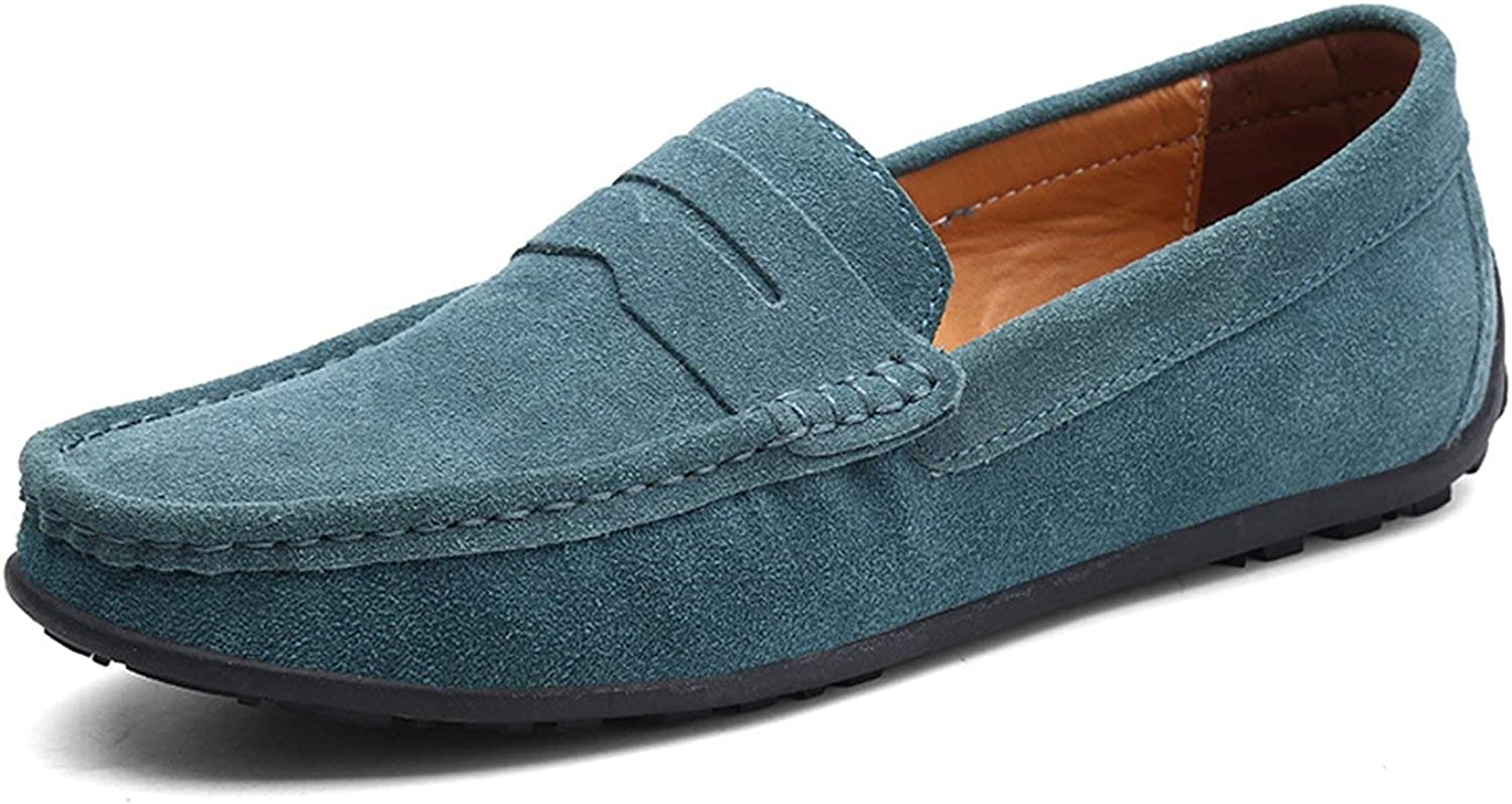 HANBINGPO Men Casual Shoes Fashion Male Shoes Suede Leather Men Loafers Leisure Moccasins Slip On Mens Driving Shoes Large Size 6.5-11,Sky Blue,9.5