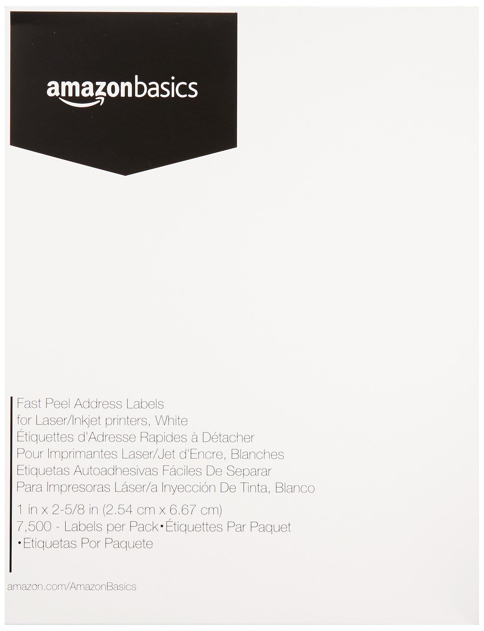 Amazon Basics Fast Peel Address Labels for Laser/Inkjet Printers, White, 1 x 2-5/8 Inch Label, 1 Pack, 7,500 Labels