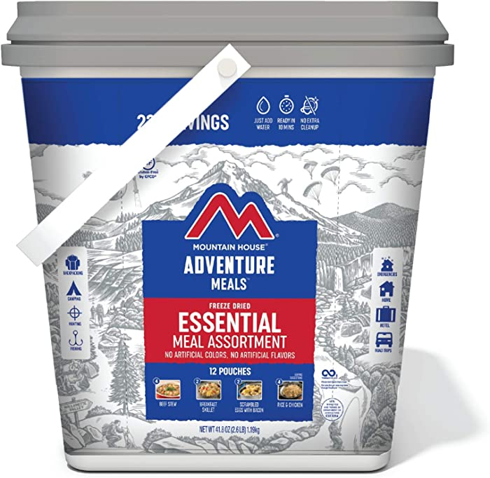 Mountain House Essential Bucket | Freeze Dried Backpacking & Camping Food | 22 Servings | Gluten-Free