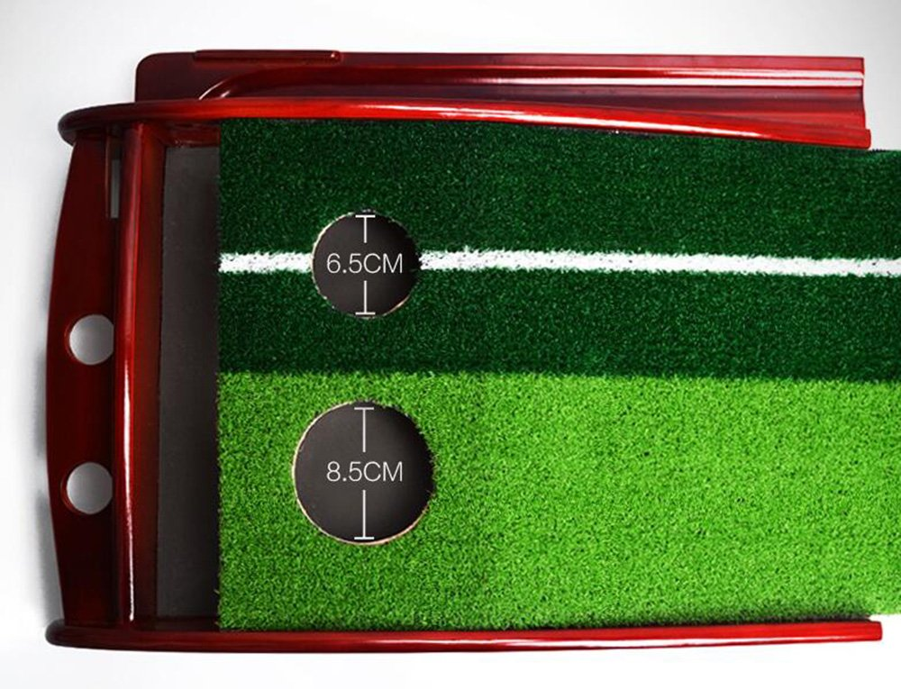 Honghetai Premium Wooden Putting Green Indoor Outdoor Golf, Golf Putting Mat Convenient Indoor Practice Training Aid Mat with Two Holes Ball Return System by Honghetai (Image #3)