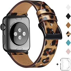 Bestig Band Compatible for Apple Watch 38mm 40mm 42mm 44mm, Genuine Leather Replacement Strap for iWatch Series 6 SE 5 4 3 2 1, Sports & Edition (Leopard Band+Black Adapter, 38mm 40mm)