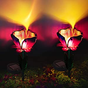 Pannow 2 Pack Large Metal Glass Solar Flowers Lights, Garden Solar Lights Outdoor,Solar Powered Stake Lights,Decorative Garden Lights for Walkway,Pathway,Yard,Lawn
