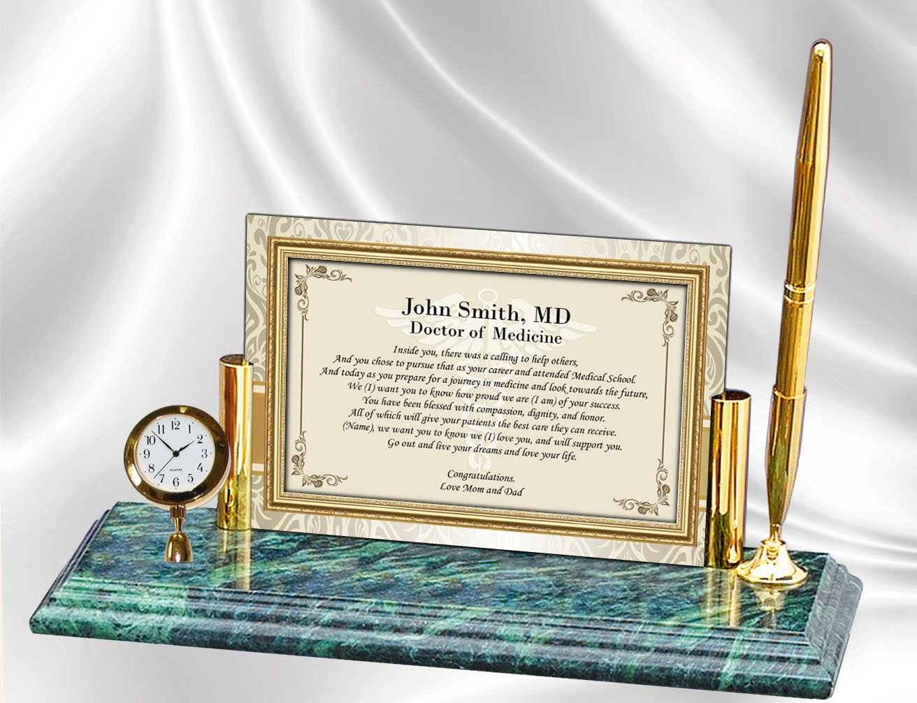 Personalized Poetry Clock Gift Doctor Physician or Medical School Graduation Graduate Poem Gifts - Mini Desk Table Clock Genuine Marble Base Brass Pen Set School Congratulation Present