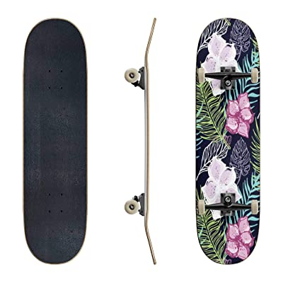 EFTOWEL Skateboards Hand Drawn Doodle Tropical Pattern Rainforest Stock Illustrations Classic Concave Skateboard Cool Stuff Teen Gifts Longboard Extreme Sports for Beginners and Professionals : Sports & Outdoors