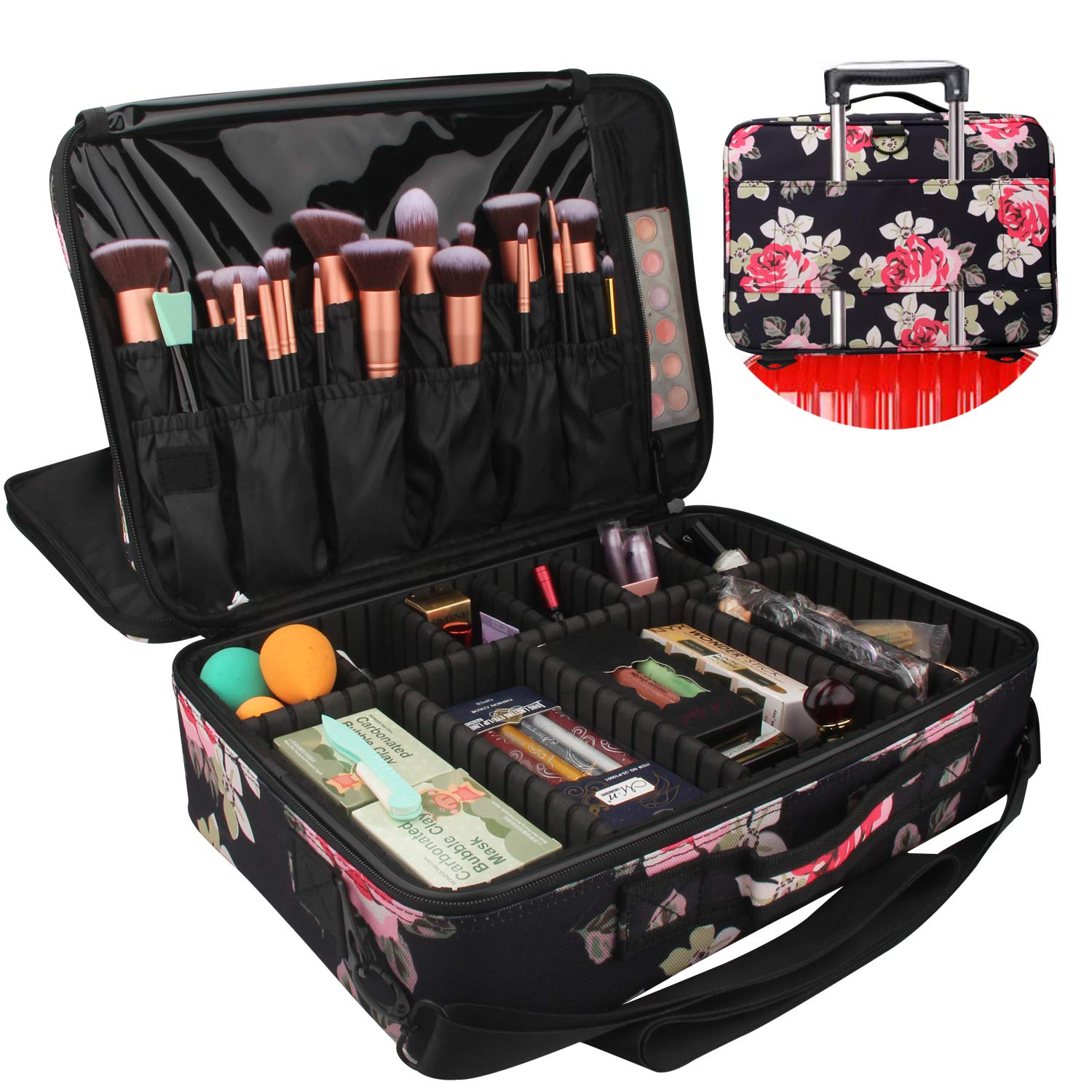 """Relavel Professional Makeup Train Case Cosmetic Bag Brush Organizer and Storage 16.5"""" Travel Make Up Artist Box 3 Layer Large Capacity with Adjustable Strap (Peony Pattern)"""