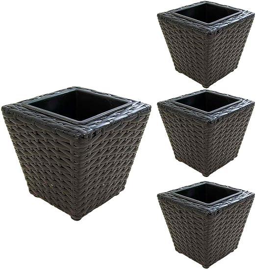 Edenjardi Pack 4 macetas para Plantas en Color Negro de 17 cm de ...