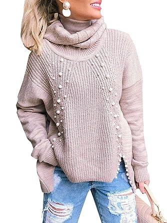 Ivdih Grau Damen Lang Pullover Rollkragenpullover Oversize
