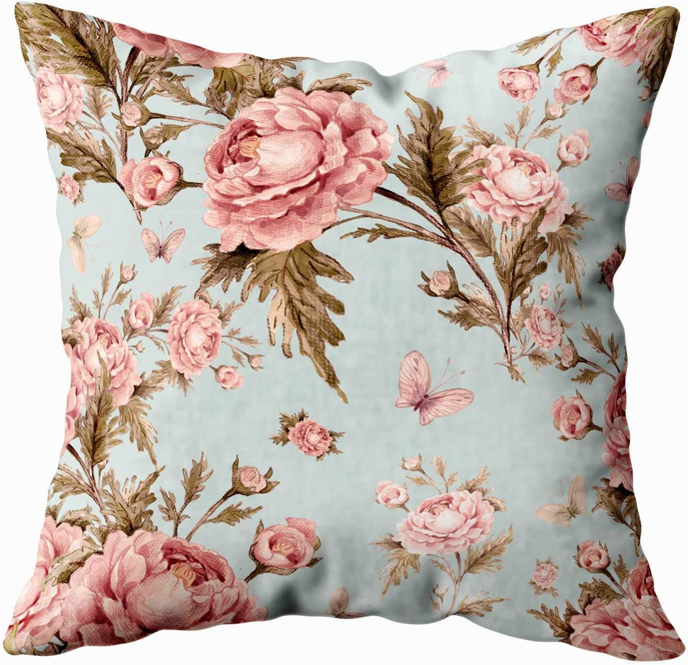 Amazon Com Musesh Abstract Pattern Pillow Cover Sofa Zip Pillow Covers 18x18 Seamless Watercolor Pattern With Roses And Butterflies Beautiful Pattern For Decoration And Design Trendy Print Exquisite Pattern Fo Home Kitchen