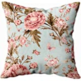 Musesh Abstract Pattern Pillow Cover,Sofa Zip Pillow Covers, 18x18 Seamless Watercolor Pattern with Roses and Butterflies Bea