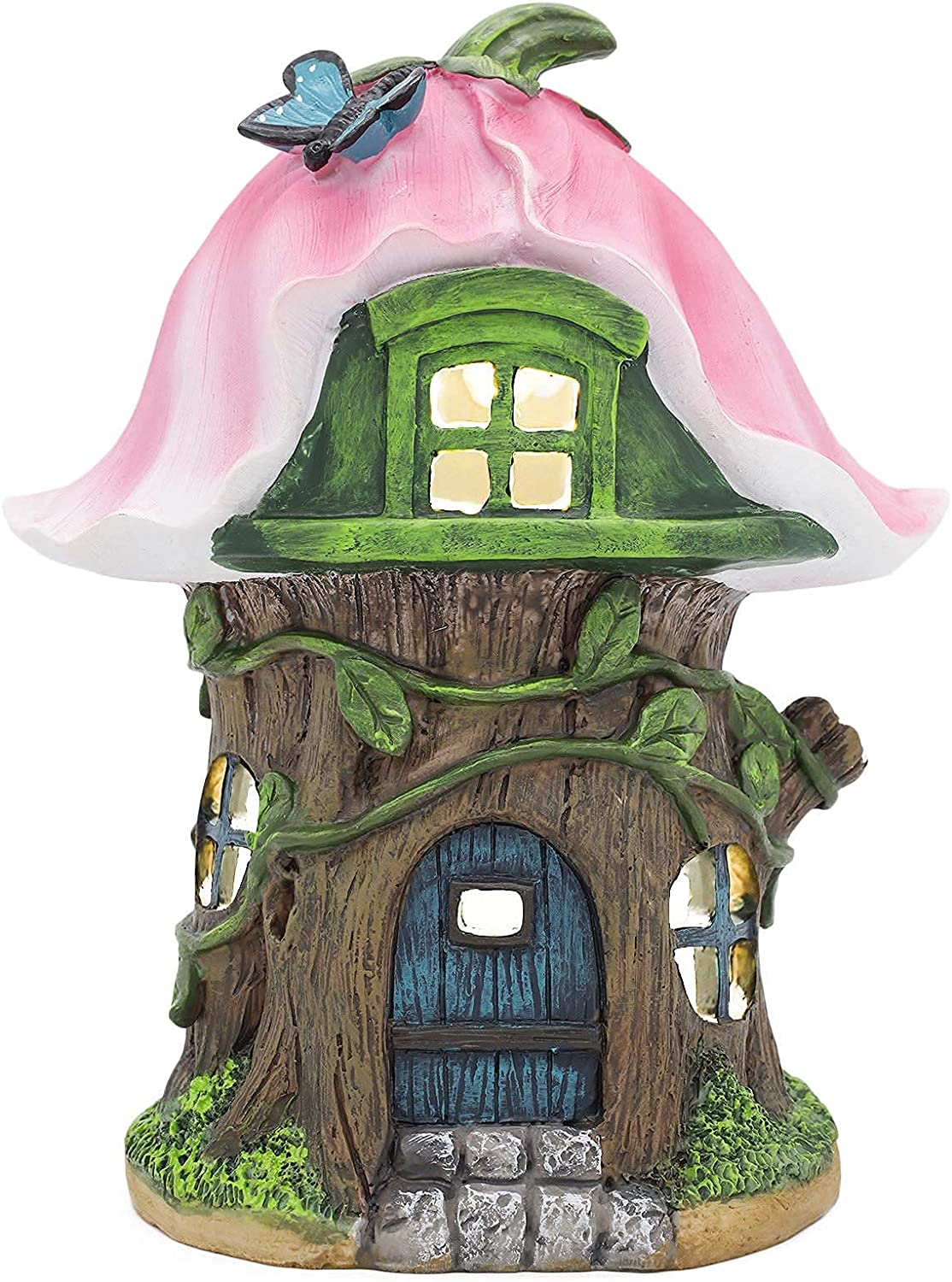 Mushroom House Solar Garden Statues Outdoor Decor, Garden Gnome House with Solar Powered Lights for Patio, Lawn, Yard Art Decoration, Housewarming Gift, 8x6.3x5.9Inch
