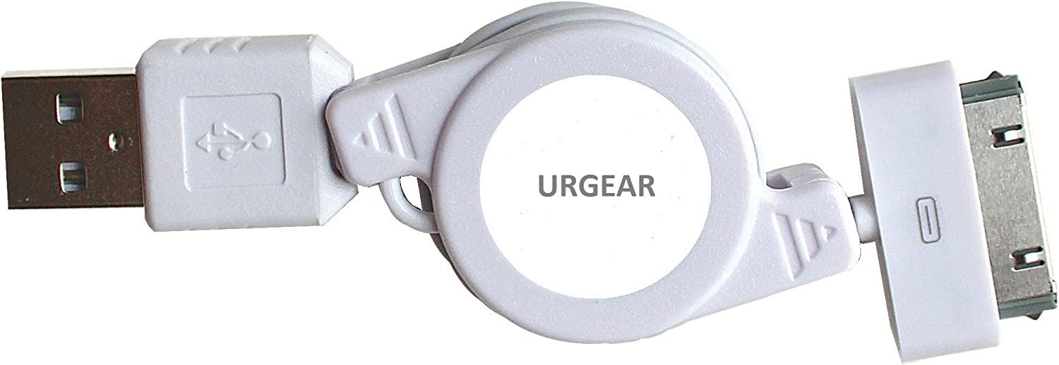 URGEAR Retractable SYNC and Charge Cable, Compatible with iPhone 4, IPad & iPod 30-Pin Connector