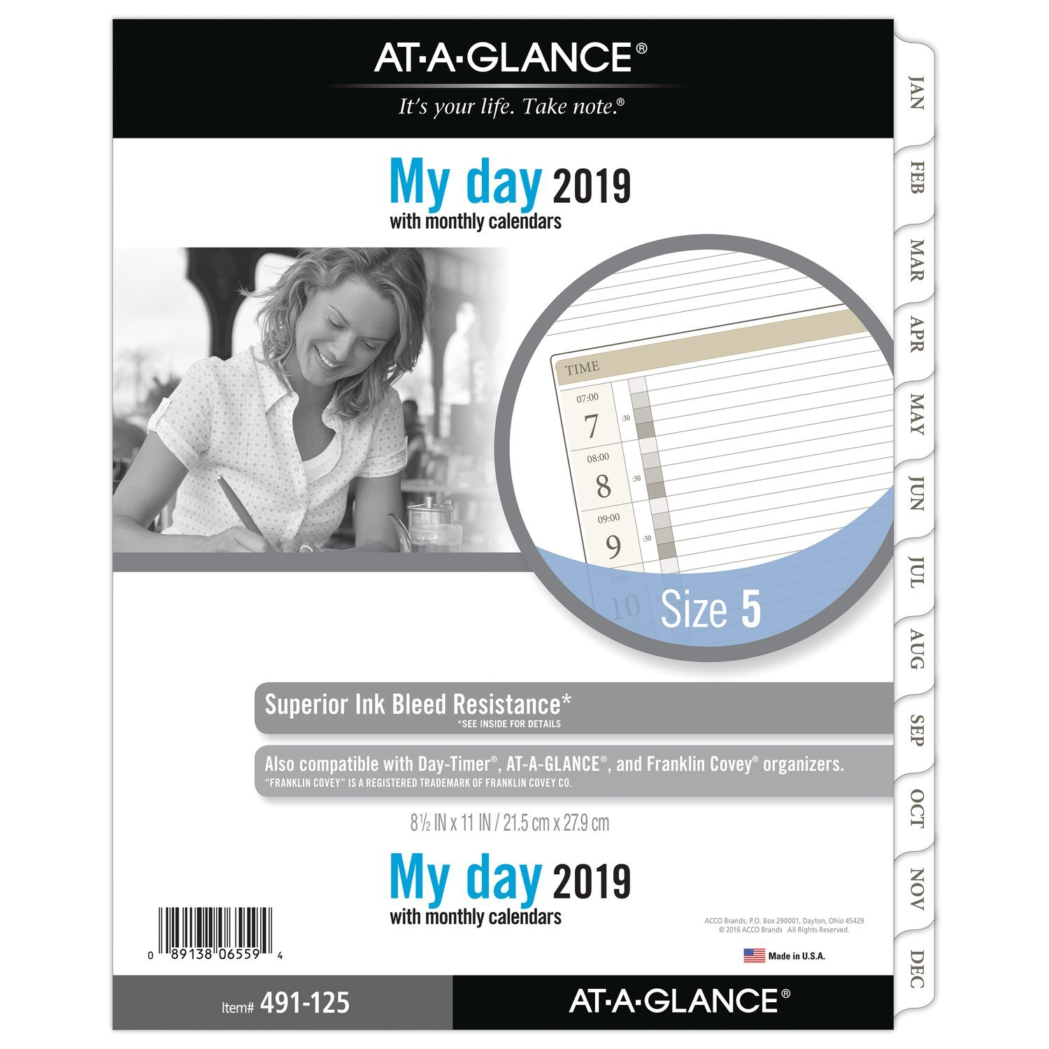 AT-A-GLANCE 2019 Daily Planner Refill, Day Runner, 8-1/2'' x 11'', Folio Size 5, One Page Per Day, Loose Leaf (491-125)