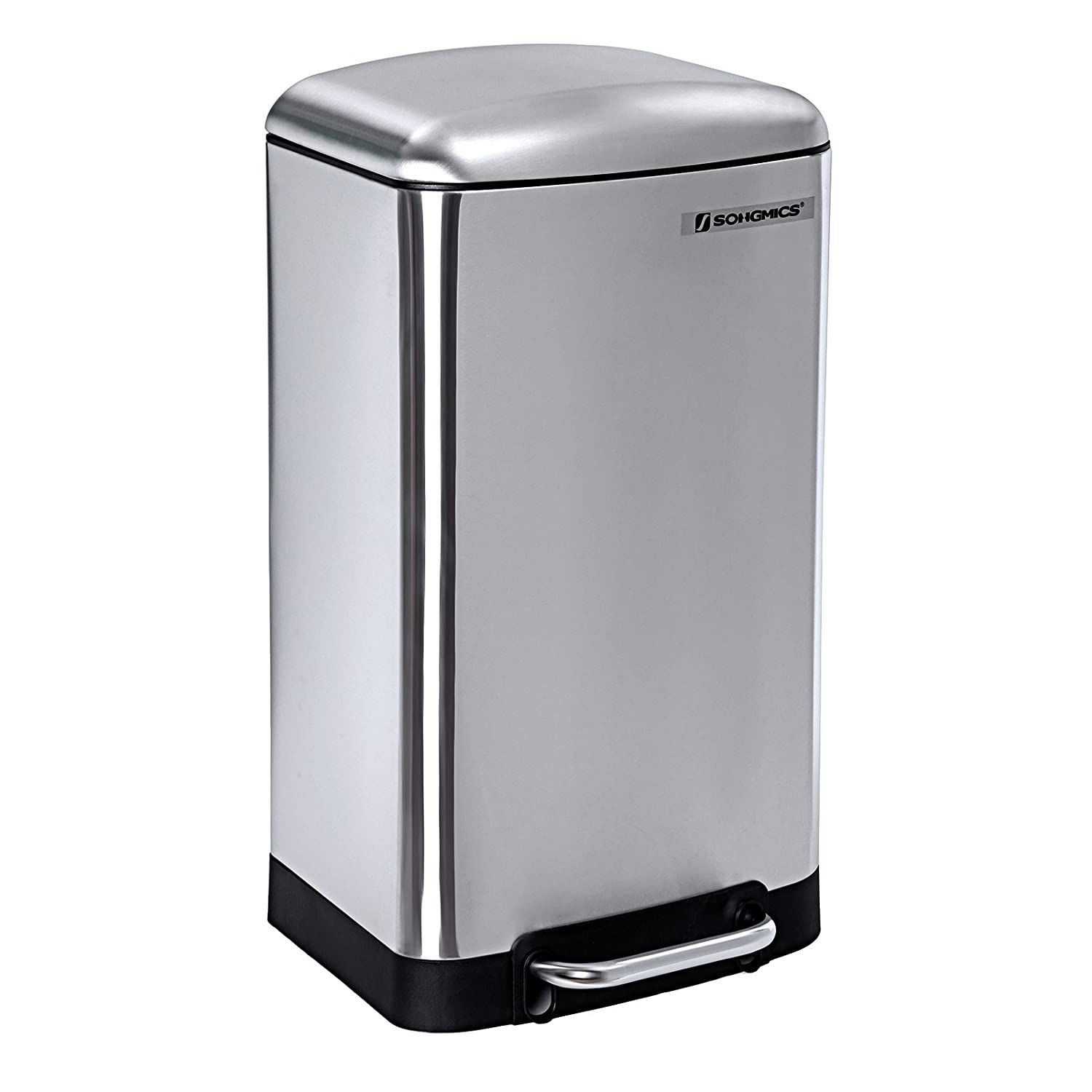 SONGMICS Pedal Bin 30L Kitchen Dustbin Soft Close Lid Stainless Steel Non-slip base LTB01L