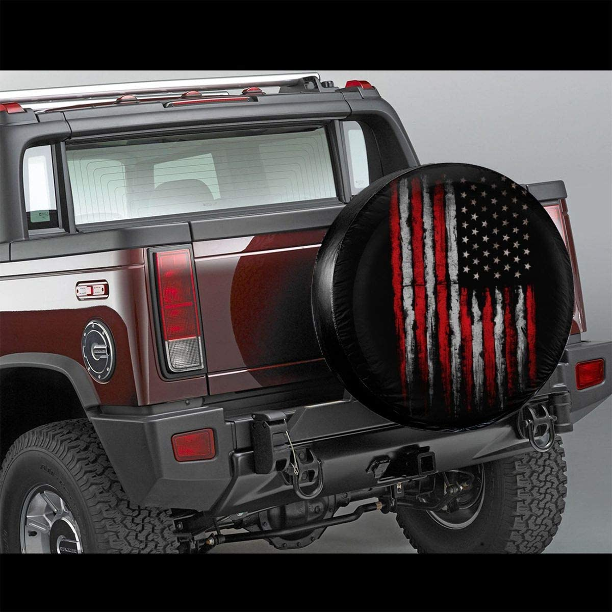 SUV Trailer Accessories15(Diameter 27-29 Becmd Red White Grunge American Flag Universal Spare Wheel Tire Cover Fit for Truck Camper Van,Jeep,Trailer RV