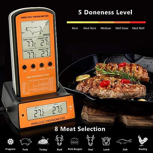 Tehwaaz termómetro para Parrilla, termómetro Digital inalámbrico ...