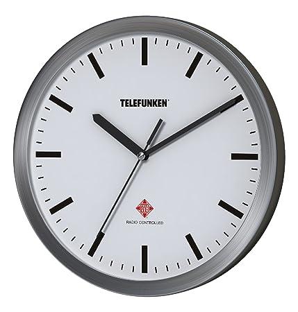 Telefunken Radio Reloj de Pared, Aluminio, Antracita, 25 x 4 x 25 cm, Aluminio, Weißes Ziffernblatt, 25 x 4 x 25 cm: Amazon.es: Hogar