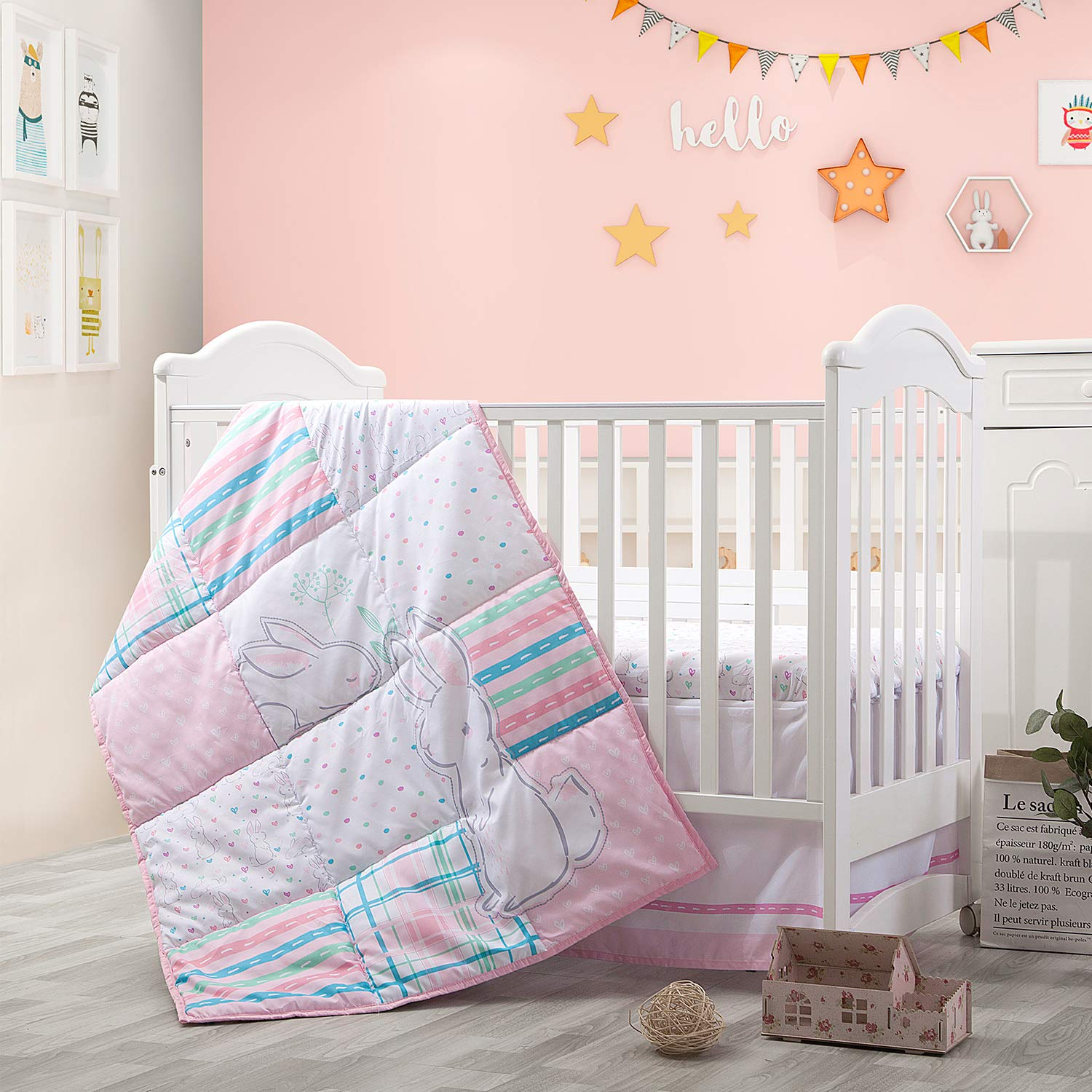 Little Grape Land 3-Piece Nursery Crib Bedding Sets, Soft Polyester Microfiber for Standard Size Crib Sets for Girls Pink/Purple/Grey/White, (Pink Garden)