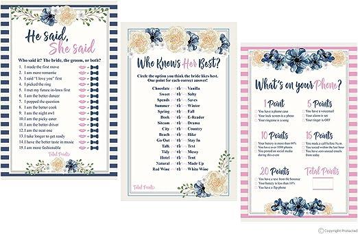 50-sheets He Said She Said Bridal Shower Game Sheets