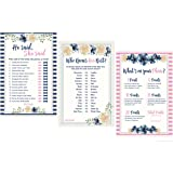 3 Bridal Shower Games Collection (50-Sheets of Each Game) - He Said She Said Game - How Well Do You Know The Bride Game - What's On Your Phone