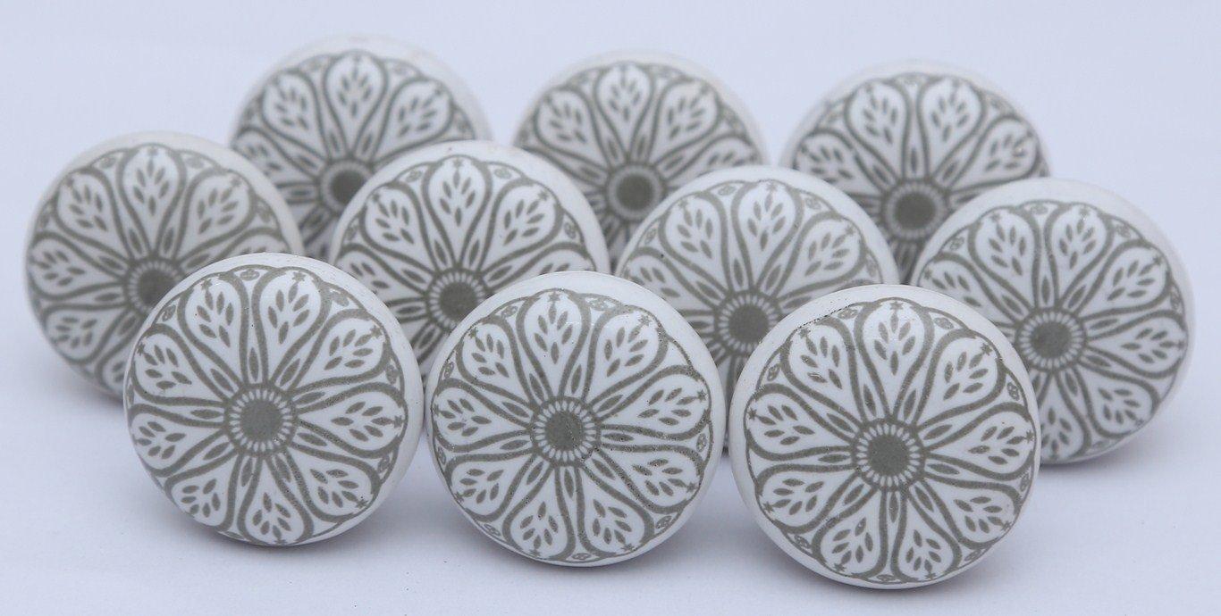 Grey Ceramic Flat White Drawer Pulls and Knobs Handmade Designer Set of 12 Silver Finish 101 zoya/'s