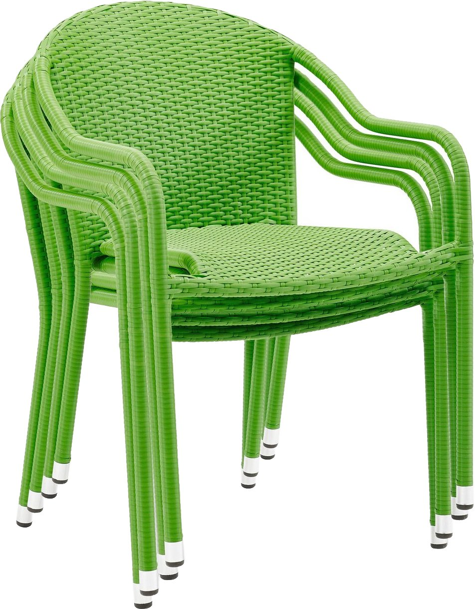 Crosley Furniture Palm Harbor Outdoor Wicker Stackable Chairs – Green Set of 4