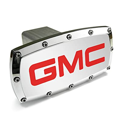 GMC Red Engraved Billet Aluminum Tow Hitch Cover: Automotive