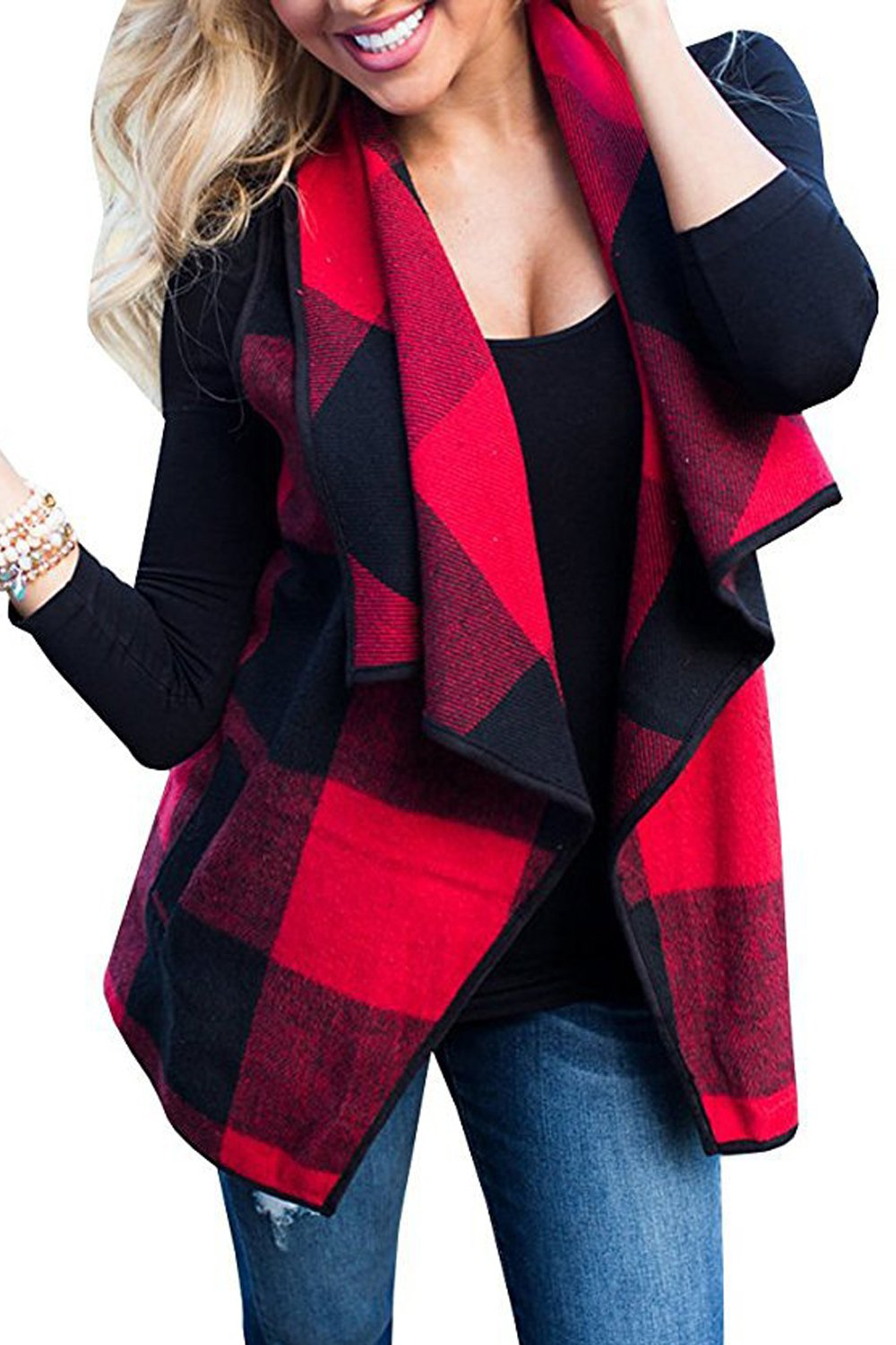 Women Casual Autumn Sleeveless Open Front Lapel Plaid Cardigans Vest CAMEG931