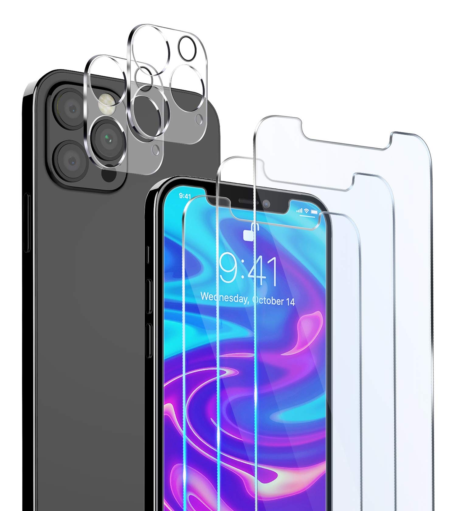 """[5 Packs] MMY 3 Pack Screen Protector for iPhone 12 Pro Max [6.7""""] + 2 Pack Camera Lens Protector,Tempered Glass Film for iPhone 12 Pro Max,HD Clear - Bubble Free - Scratch Resistant (Clear)"""