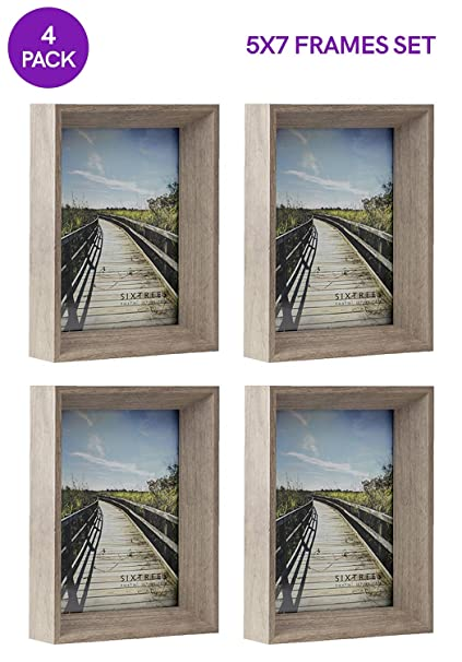 d5078d189a1c Amazon.com - Sixtrees 5X7 Inch Gray Deep Picture Frames Set ...