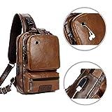Men's Sling Bag, Crossbody PU Leather Shoulder