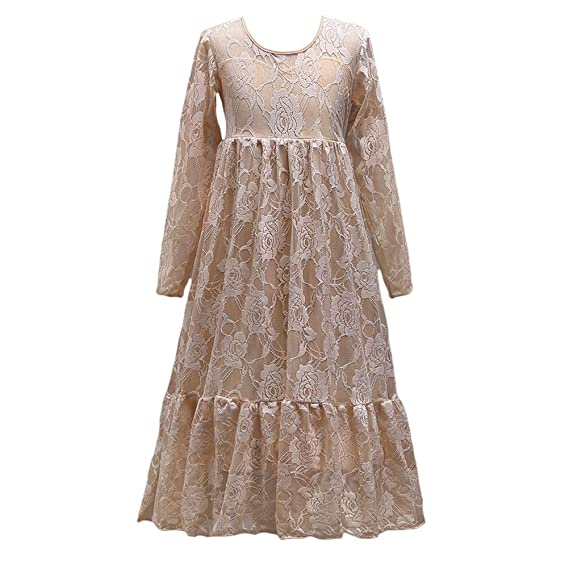 Zhhlinyuan Long sleeves Chicas Sweet Lace Vestidos Simple Niños Boda Fiesta Performance Princesa Vestidos: Amazon.es: Ropa y accesorios