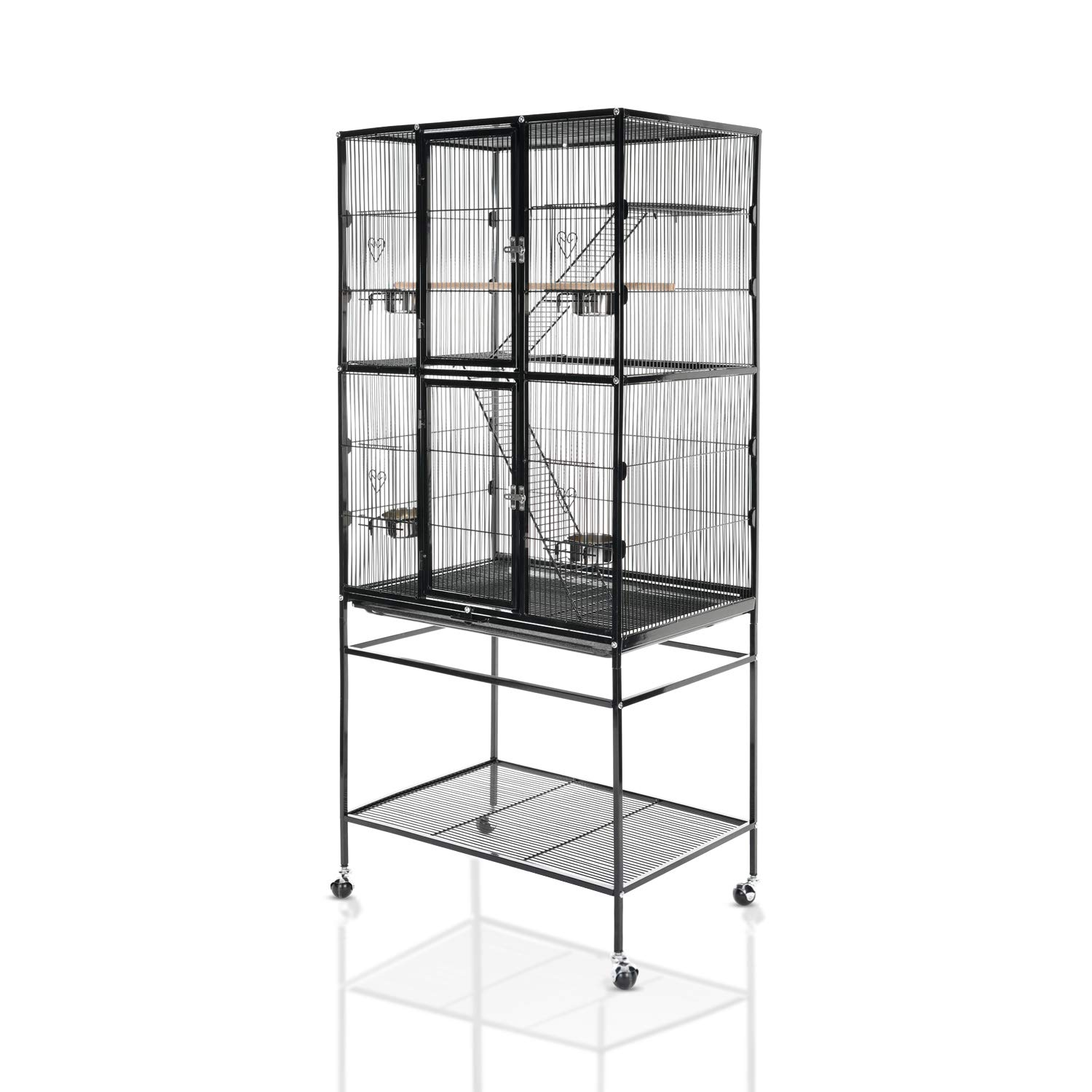 LAZY BUDDY Bird Cage 63'' Large Wrought Iron Bird Cage with Stand for Parrots, Parakeets, Cocktiel, Budgie and Other Birds. (Black) by LAZY BUDDY
