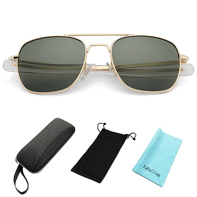 590e5e84c7 YuFalling Retro Polarized Aviator Sunglasses for Men and Women (gold frame black  green lens