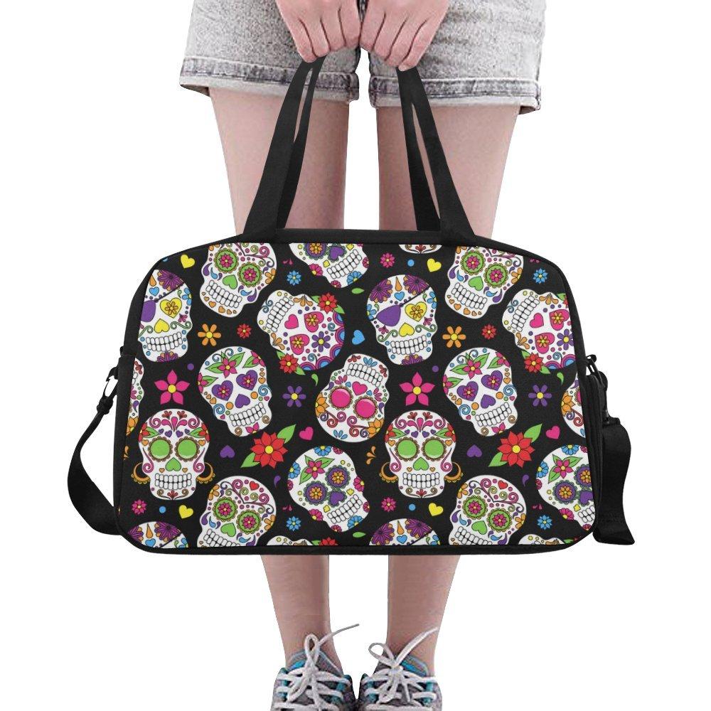 Unique Design Duffel Bag Day Of The Dead Sugar Skull Travel Tote Bag Handbag Crossbody Luggage