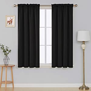 Deconovo Black Blackout Curtains Thermal Insulated Rod Pocket Room Darkening Curtain Panels for Bedroom 42W x 63L Inch Black 2 Panels