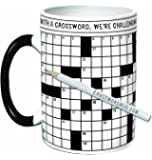 Crossword Puzzle Coffee Mug - Exercise Your Mind While You Warm Your Belly - Comes in a Fun Gift Box