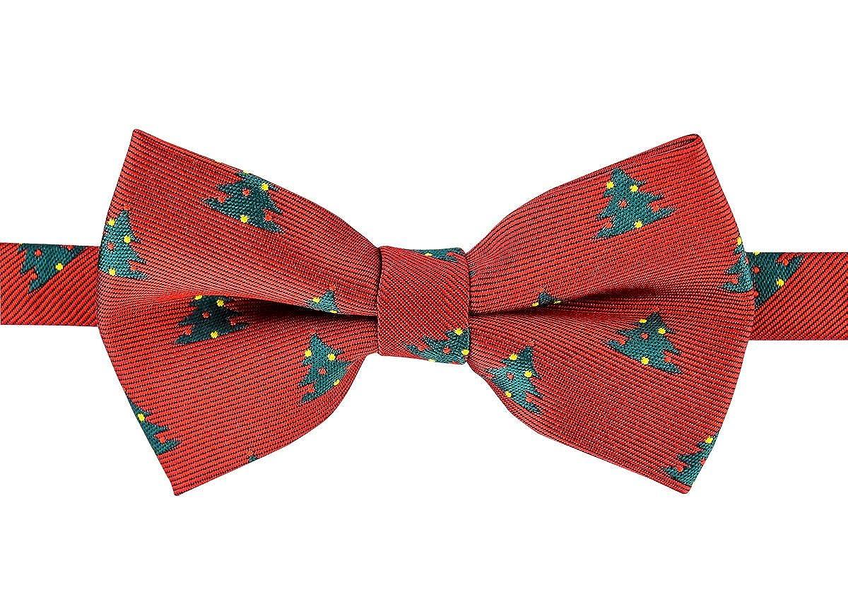 Retreez Delightful Christmas Tree Pattern Woven Pre-tied Boy's Bow Tie