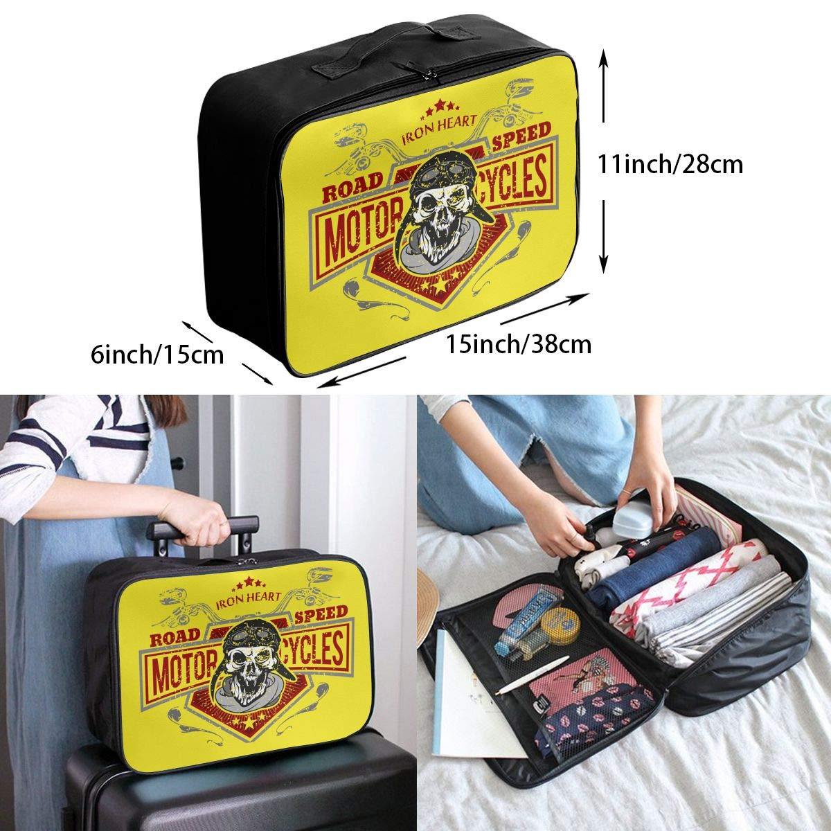 Travel Duffel Bag Waterproof Lightweight Large Capacity Duffel Tote Bag Vintage Biker Skull Portable Handbag For Travel Camping Sport