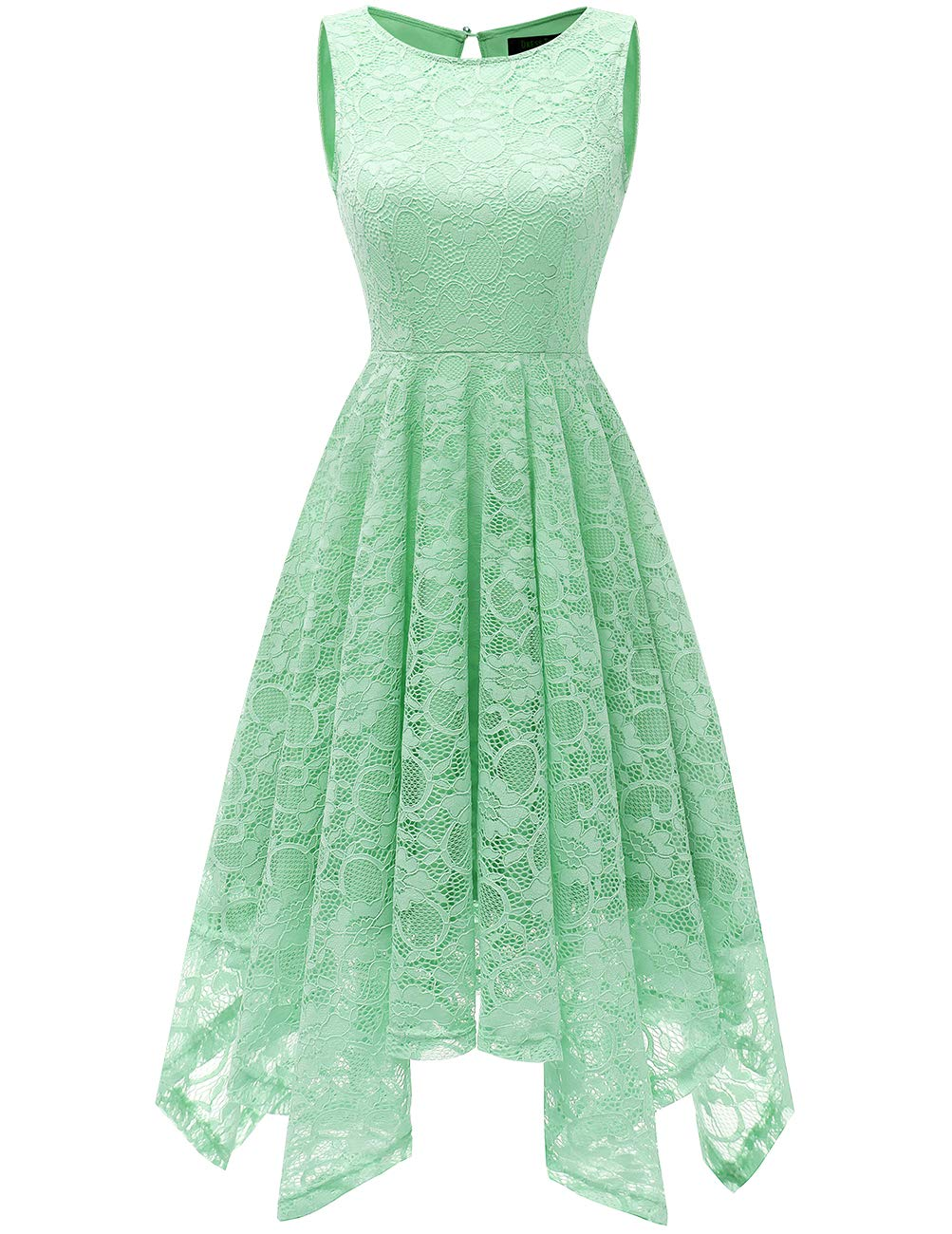 DRESSTELLS Women's Cocktail Vintage Floral Lace Handkerchief Hem Asymmetrical Party Dress Mint 3XL