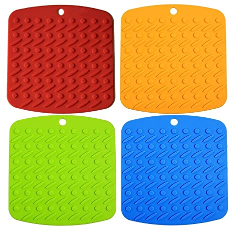 GreeSuit 4PCs Kitchen Silicone Pot Holder Multipurpose Trivet Mats Hot Pads  For Jar Opener, Spoon