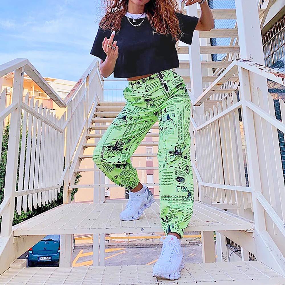Lumemery Pantalones Casuales para Mujer Cintura Alta Pantalones de Moda con Estampado de peri/ódico Verde Loose Fitting para oto/ño e Invierno