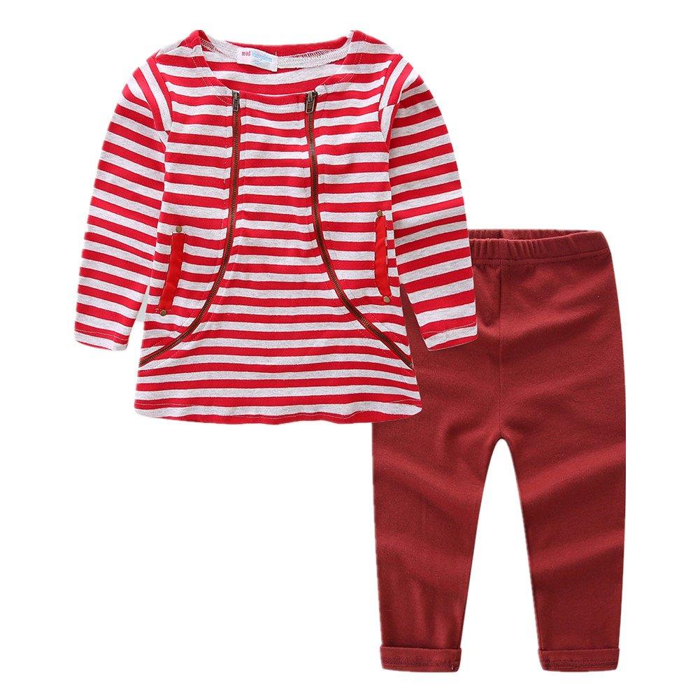 LittleSpring Little Girls Pants Set Striped