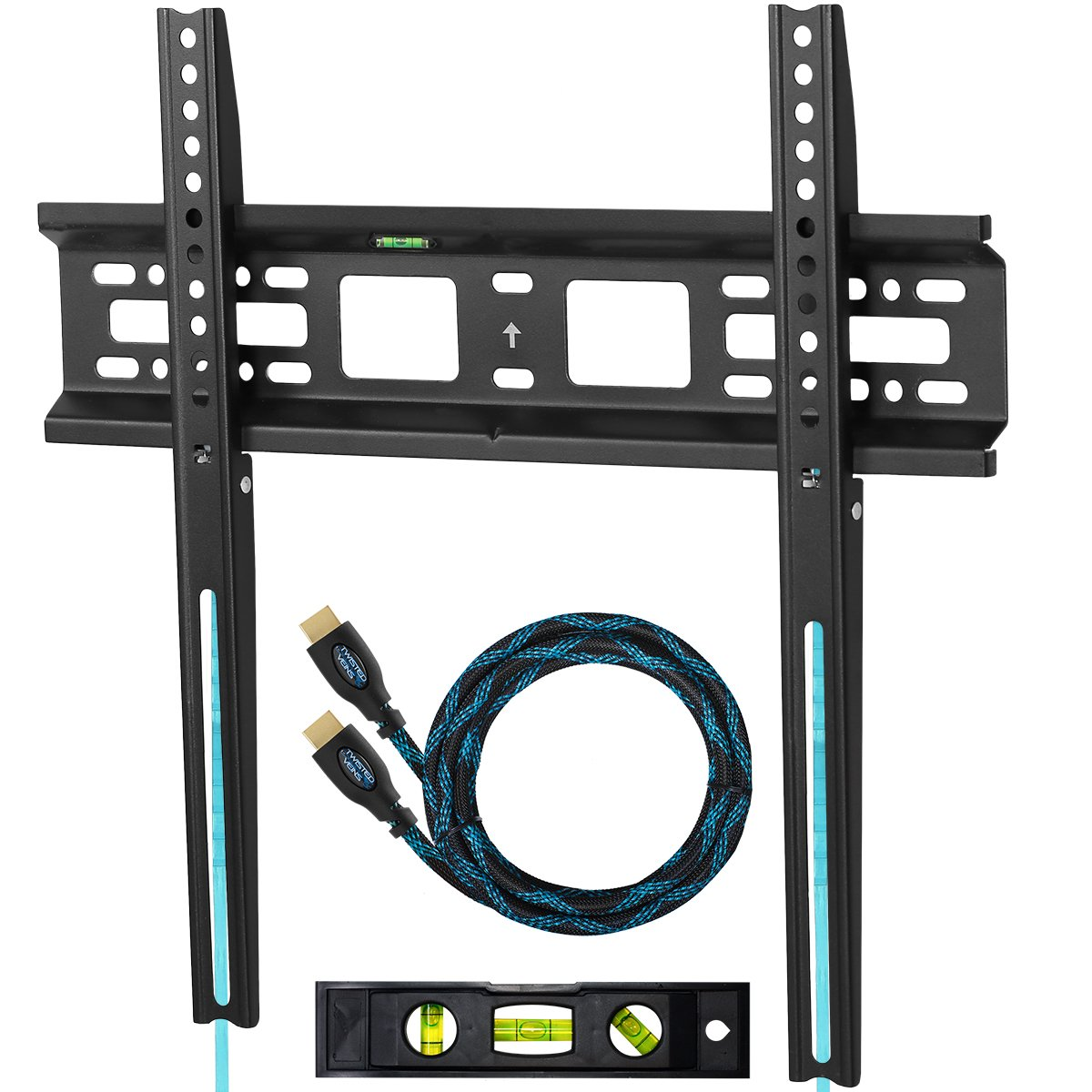 "Cheetah Mounts APFMSB TV Wall Mount Bracket for 20-55"" TVs Up To VESA 400 and 115 lbs (kg 52) including a Twisted Veins 10' (3m) HDMI Cable and a 6"