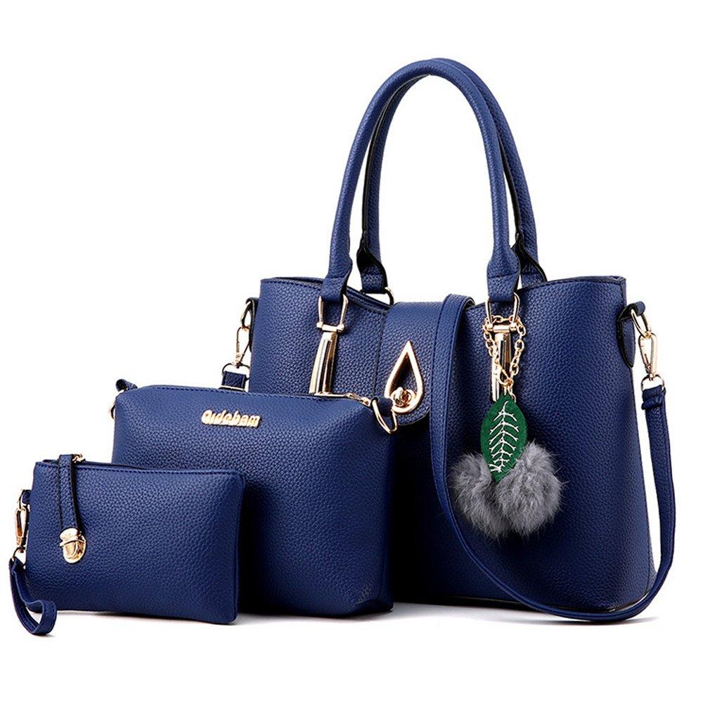 3PCS Women Pattern Leather Shoulder Bag+Crossbody Bag+Handbag Blue