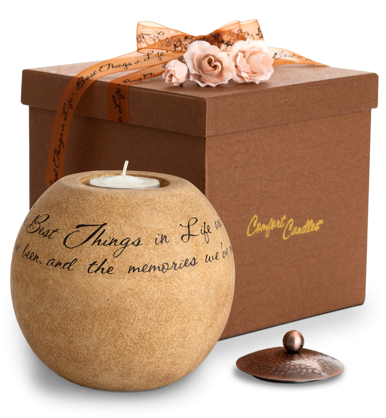 GiftTree Comfort Candle   The Best Things In Life Keepsake Unscented Tea Light Candle Holder   Engraved with Inspirational Message   Perfect Home Décor or Gift for Birthday, Housewarming, Sympathy