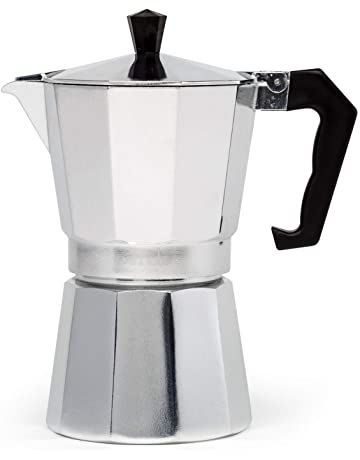 Vremi cafetera para hacer Espresso en estufa cafetera Demitasse Espresso para Espresso italiano Cappuccino o Latte de 6 tazas Negro Olla para Moka Cafetera para Estufa de gas o el/éctrica Top